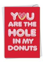NobleWorks, Cute Valentine's Card with Envelope - Heartfelt Stationery Notecard for Valentines - Hole In My Donuts C6775VDG