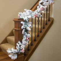 "Vickerman 9' X 16"" Flocked Alaskan Garland with 100 Multi-colored lights"
