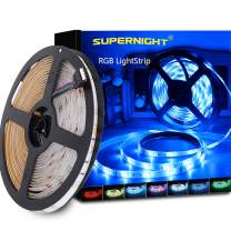 SUPERNIGHT RGB LED Strip Lights Waterproof, Bright SMD 5050 16.4ft Multi Color Changing Flexible Rope Light for TV Backlight, Party, Bedroom Decoration
