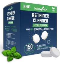 Retainer and Denture Cleaner 150 Tablets, 5 Month Supply Cleaning Tablets Denture Cleaners Remove Bad Odors, Plaque, Stains From Night Guards, Mouth Guards, Dental Appliance