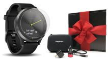 Garmin vivomove HR Sport (Black - Large) Hybrid Smartwatch Gift Box Bundle | with PlayBetter Screen Protectors (x4), PlayBetter USB Wall/Car Adapters, Hard Case | Black Gift Box, Red Bow