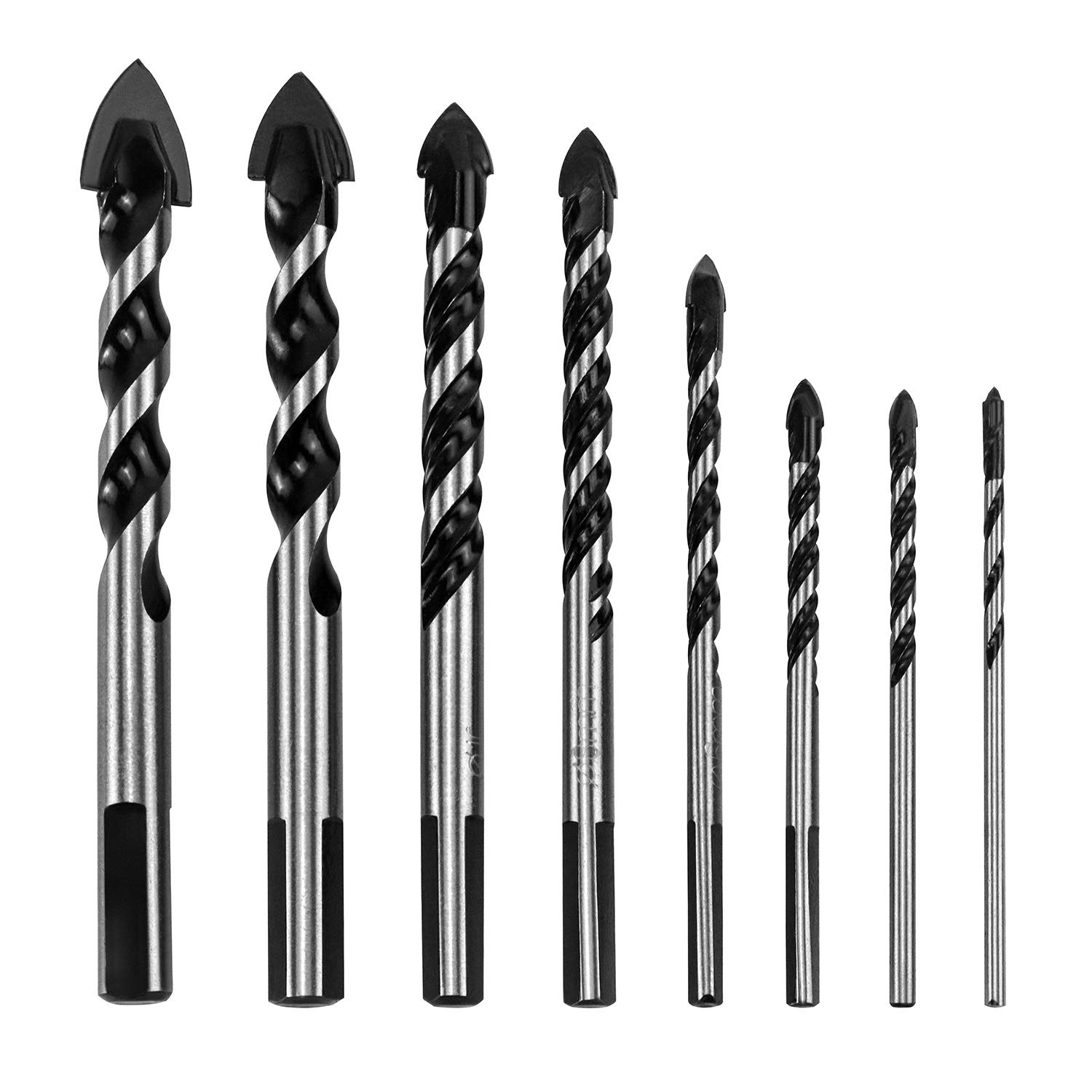 QWORK 8 Pcs Set ( 3, 4, 5, 6, 8, 10, 14, 16 mm ) Multi-Material Drill Bit Set for Tile,Concrete, Brick, Glass, Plastic and Wood Tungsten Carbide Tip Best for Wall Mirror and Ceramic Tile on Concrete and Brick Wall