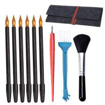 Sketch Color Pen,Sketch Paper Pens Black Brush Sketch Tools Set with Bamboo Sticks Scraper Repair Dual-Tip Sketch Pen Brush Felt Storage Bag 6Pcs Christmas Gift