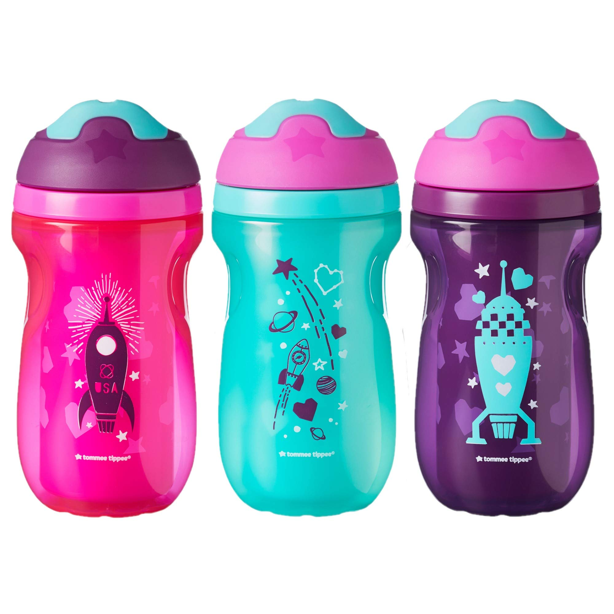 Tommee Tippee Non-Spill Insulated Sippee Toddler Tumbler Cup, 12+ Months, 9 Ounce, 3 Count, Girl, Purple, Pink and Blue
