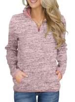 Actloe 2020 Women Quarter Zipper Stand Collar Long Sleeve Casual Sweatshirt with Pockets