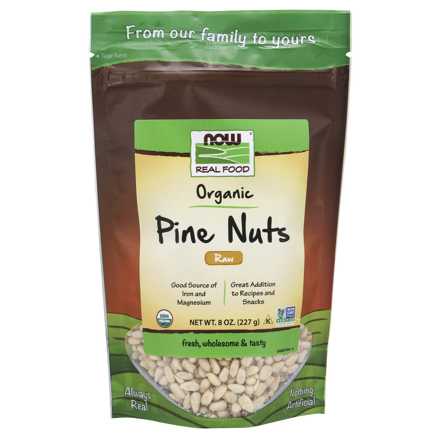 NOW Foods, Certified Organic Pine Nuts, Raw and Non-GMO, Good Source of Protein, Thiamin and Magnesium, 8-Ounce