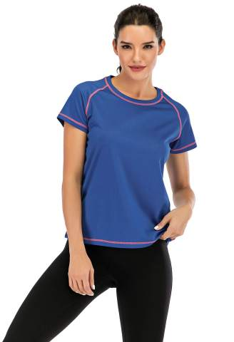 Women Workout Shirts Short Sleeve Plain Running T-Shirt Blouse Yoga Tops Athletic Activewear with Round Neck