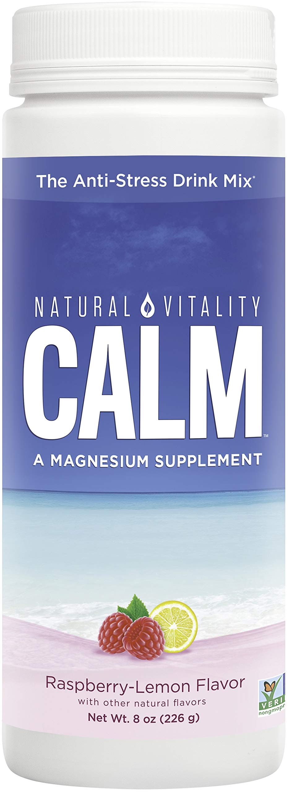 Natural Vitality Calm, Magnesium Supplement, Anti-Stress Drink Mix Powder, Original, Raspberry Lemon - 8 Ounce (Packaging May Vary)