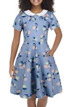 GORLYA Girl's Short Sleeve Casual Vintage Peter Pan Collar Fit and Flare Skater Party Dress with Pockets 4-12 Years