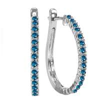 Dazzlingrock Collection 14K Gold Ladies Hoop Earrings 1/2 CT, White Gold