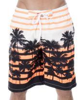 ZENCO Men's Big Coconut Trees Print Swim Trunks, Orange, M
