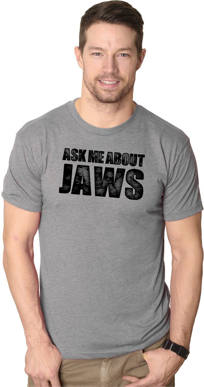 Mens Ask Me About Jaws Flip Up Tshirt Funny Ocean Shark Movie Tee for Guys