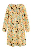 CHUNG Women's Cotton Nightgowns Long Sleeve Crew Neck Vivid Print Nighties Sleepshirts Dress Sleepwear Autumn Winter