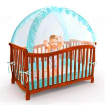 Baby Crib Safety Pop Up Tent, Mesh Cover Mosquito Net to Keep Baby from Climbing Out - Stylish and Sturdy Unisex Infant Crib Tent Net - Protect Your Baby from Falls and Bite (Blue with Star)