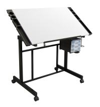 Studio Designs Deluxe Craft Station, Top Adjustable Drafting Table Craft Table Drawing Desk Hobby Table Writing Desk Studio Desk with Drawers, 36''W x 24''D, Black/White