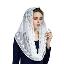 Catholic Chapel Mantilla Veil Church Lace Head Covering Easter Latin Mass Off White Black