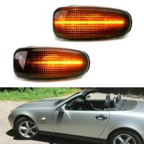 iJDMTOY Smoked Lens Amber Full LED Sequential Blink Fender Side Marker Indicator Lights Compatible With Mercedes CLK SLK Class Dodge Sprinter, Powered by 20-SMD LED, Replace OEM Sidemarker Lamps