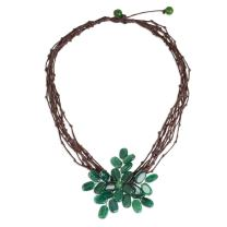 "NOVICA Green Quartz Stainless Steel Beaded Necklace, 16.5"" 'Twigs and Flowers'"