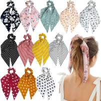 Sunaction 12 Pcs Hair Scarf Scrunchies For Women Chiffon Floral Scrunchie Scarf Hair Ties Scarf Ponytail Holder,Ribbon Scrunchie with Tails