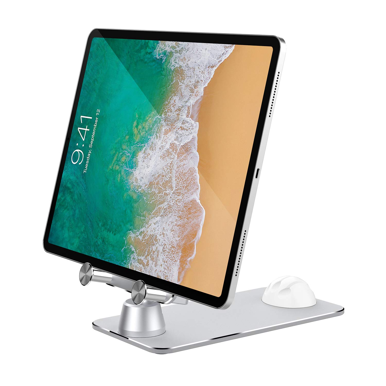 Tablet and Cellphone Stand Adjustable, VMEI Metal Desktop Stand Compatible with Tablet Such as iPad 2019 Pro, iPad Air Mini, Kindle, Nexus, E-Reader, Switch,iPhone and All Smart Phone(Silver)