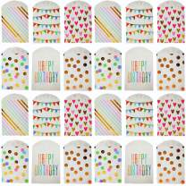 UNIQOOO 72Pcs Assorted Gold Foil Paper Treat Bags Bulk, 100% Food Safe, Pastry Cookie Bags, For Easter Kids Birthday Party Favor Bag, Candy Buffet Decoration,Pastel Color Rose Gold, Small 7½ x4¾x½Inch
