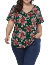 Allegrace Women Plus Size Sexy V Neck Floral T Shirt Short Sleeve Printed Tee Top