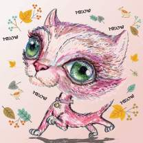"""5D Diamond Painting by Number-Full Round Cartoon Pink Cat-Crystal Rhinestone Embroidery DIY Cross Stitch Kits Arts Craft Home Wall Décor-[16""""x16""""]"""