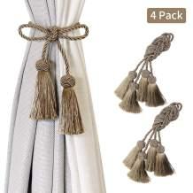 BEL AVENIR 4 Pack Curtain Handmade Tiebacks Decorative Curtain Holdbacks with Tassel- Flaxen