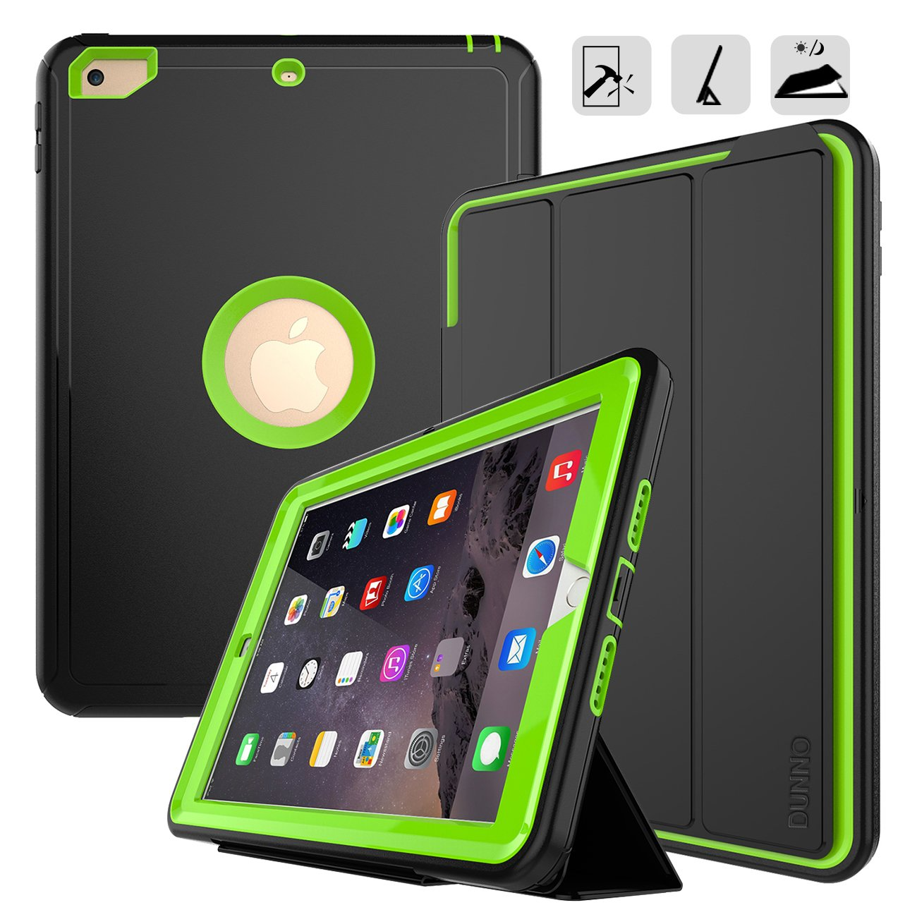 iPad 9.7 2017/2018 case - DUNNO Heavy Duty Full Body Rugged Protective Case with Auto Sleep/Wake Up Stand Folio & Three Layer Design for Apple iPad 9.7 inch 2017/2018 (Black+Green)