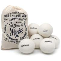 Wool Dryer Balls by Elm Point, 6 Pack XL Organic Wool Balls for Dryer, Natural Laundry Balls Fabric Softener, Reusable Organic Dryer Sheets Replacement | Sustainable Products