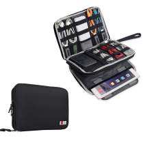 """BUBM Double Layer Electronics Organizer/Travel Gadget Bag For Cables,Memory Cards,Flash Hard Drive and More,Fit For iPad Or Tablet(Up To 9.7"""")--Large, Black"""