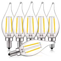 Luxrite 4W Vintage Candelabra LED Bulbs Dimmable, 400 Lumens, 3000K Soft White, LED Chandelier Light Bulbs 40W Equivalent, Flame Clear Glass, Filament LED Candle Bulb, UL Listed, E12 Base (6 Pack)