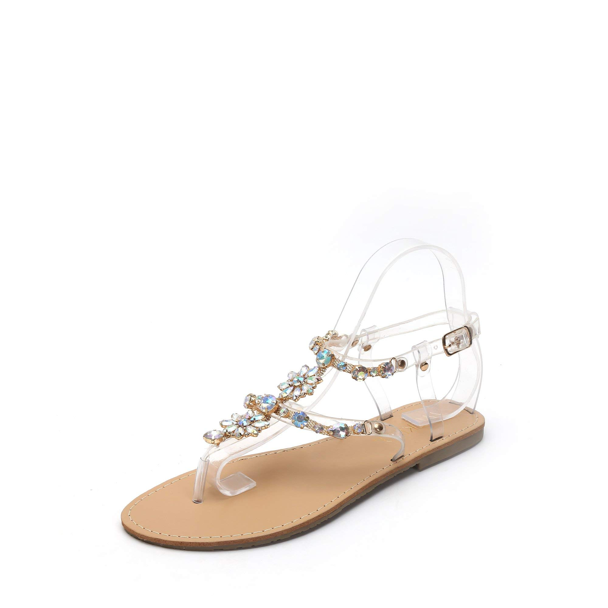 MACKIN J 370-1 Women's Rhinestone Sandals Thong Ankle Strap Summer Flat Sandals