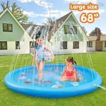 ASIILOVI Splash Pad, 68'' Sprinkler for Kids Toddlers, Summer Backyard Water Toys, Outdoor Splash Pad for Kids Inflatable Pools for Kids
