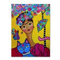 Brigit's Frida And Her Cat by Prisarts, 14x19-Inch Canvas Wall Art