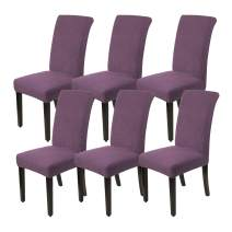 KEKUOU Stretch Chair Covers for Dining Room Set of 6,Dining Room Chair Slipcovers Dining Chair Covers,Removable Washable Jacquard Chair Covers,Parsons Chair Slipcover Seat Protector (Purple, 6)