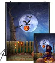 DULUDA Halloween Night Photo Backdrop Moon Fall Leaves Pumpkin Lantern Fence Photography Background for Photoshoot Party Supply Portrait Baby Shower Decoration Photobooth Prop 5x7ft HW50