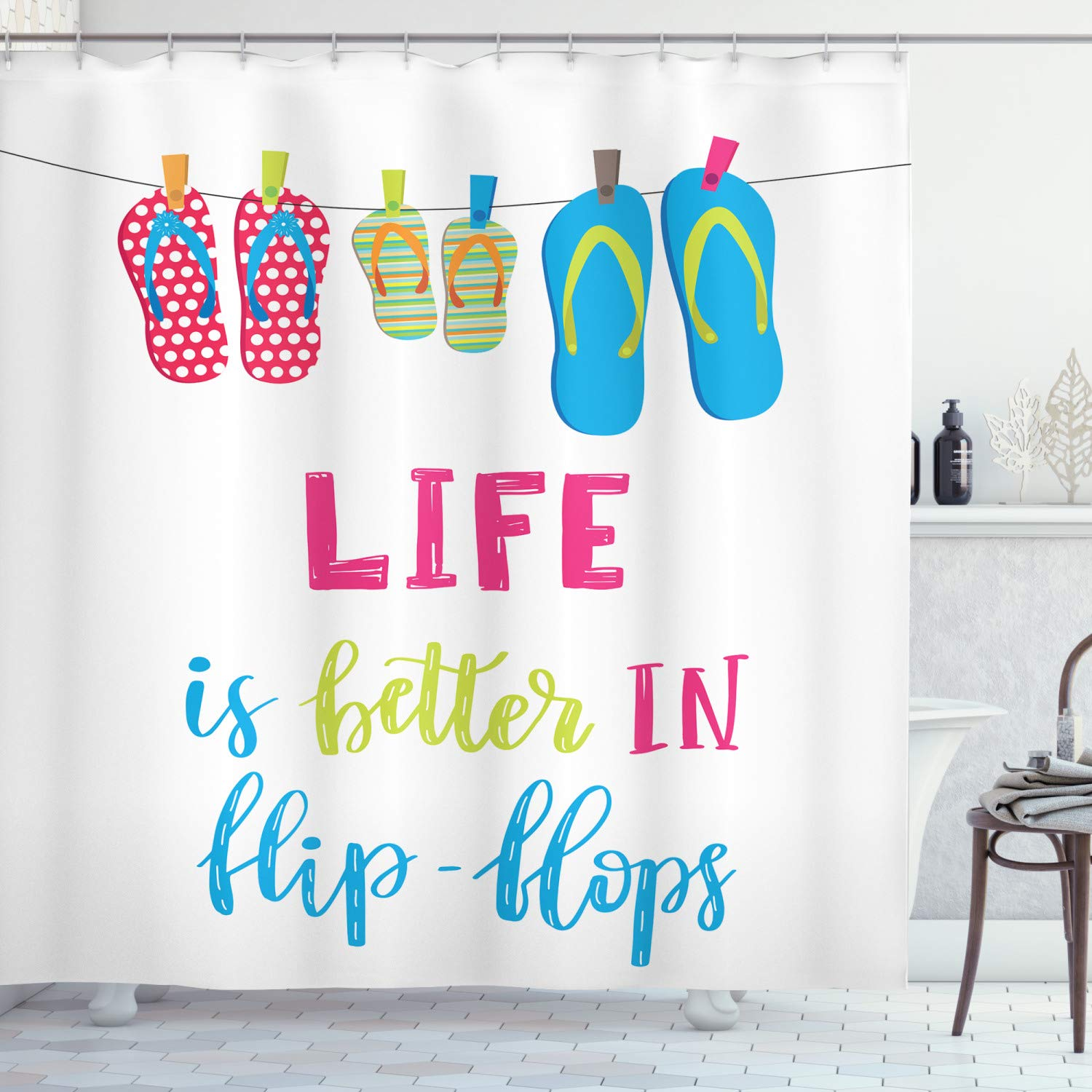 """Ambesonne Summer Shower Curtain, Life is Better in Flip Flops Message with Polka Dotted and Striped Hanging Slippers, Cloth Fabric Bathroom Decor Set with Hooks, 70"""" Long, Multicolor"""
