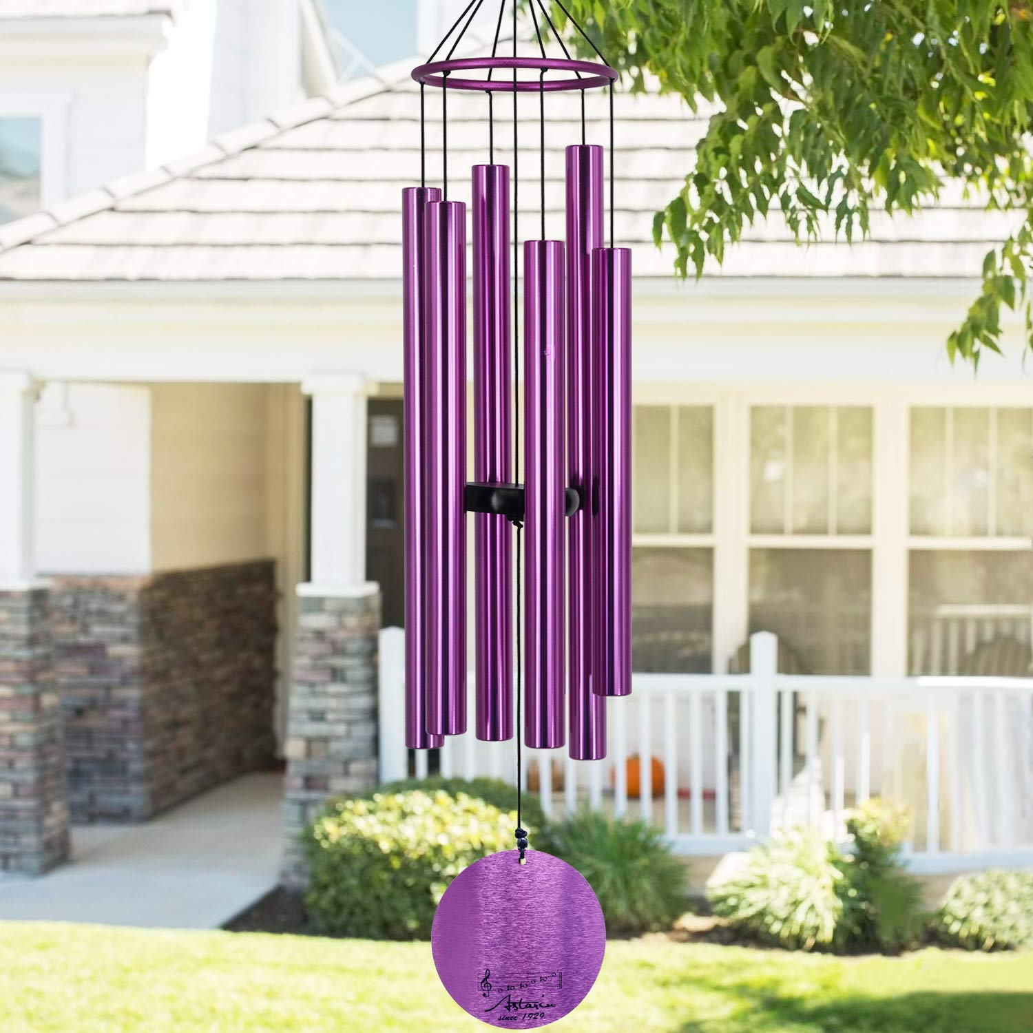 Memorial Wind Chimes Outdoor Large Deep Tone,36 Inch Wind Chimes Unique Tuned Relaxing Soothing Melody,Sympathy WindChimes for Mom,Dad,Garden, Yard, Patio, Porch,Home Decoration and Gift,(Purple)