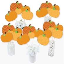 Big Dot of Happiness Pumpkin Patch - Fall or Thanksgiving Party Centerpiece Sticks - Table Toppers - Set of 15