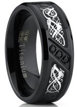 Metal Masters Co. Men's Black Titanium Wedding Ring Band with Dragon Design Over Carbon Fiber Inlay and Black Cubic Zirconia