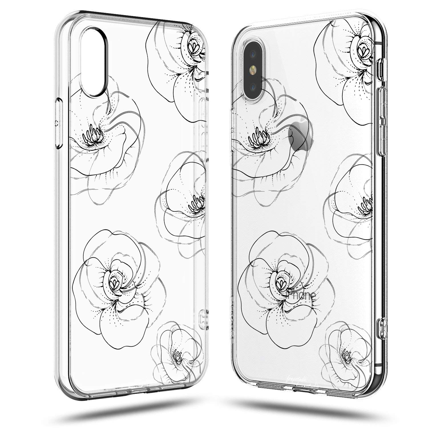iPhone XR Roses Flowers Case,Girls Women Trendy Simple Line-Drawing Elegant Classical Black Roses Floral Daisy Blooms Less is More Summer Chic Cute Clear Soft Case Compatible for iPhone XR