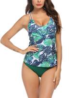 Ekouaer Tankini Swimsuits for Women V Neck Swimwear Tankini Top with Bikini Bottom Two Piece Bathing Suits S-XXL