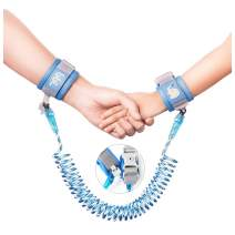 Anti-Lost Wrist Link, Blue Reflective Anti-Lost Wrist Chain with Child Lock 6.56 feet.