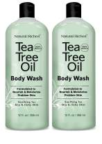 Extra Strength Tea Tree Oil Skin Clearing Body Wash Hand Wash Peppermint Eucalyptus Oil Soap by Natural Riches -12 oz for Body Odor healthful cleanse Helps with Skin Hair Toenails Jock itch (2 Pack)