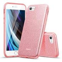 ESR Glitter Case Compatible with iPhone SE 2020 Case, iPhone 8 Case, iPhone 7 Case, Glitter Sparkle Case for Women [Three Layers] [Supports Wireless Charging] for New iPhone SE 2(2020)/8/7, Rose Gold