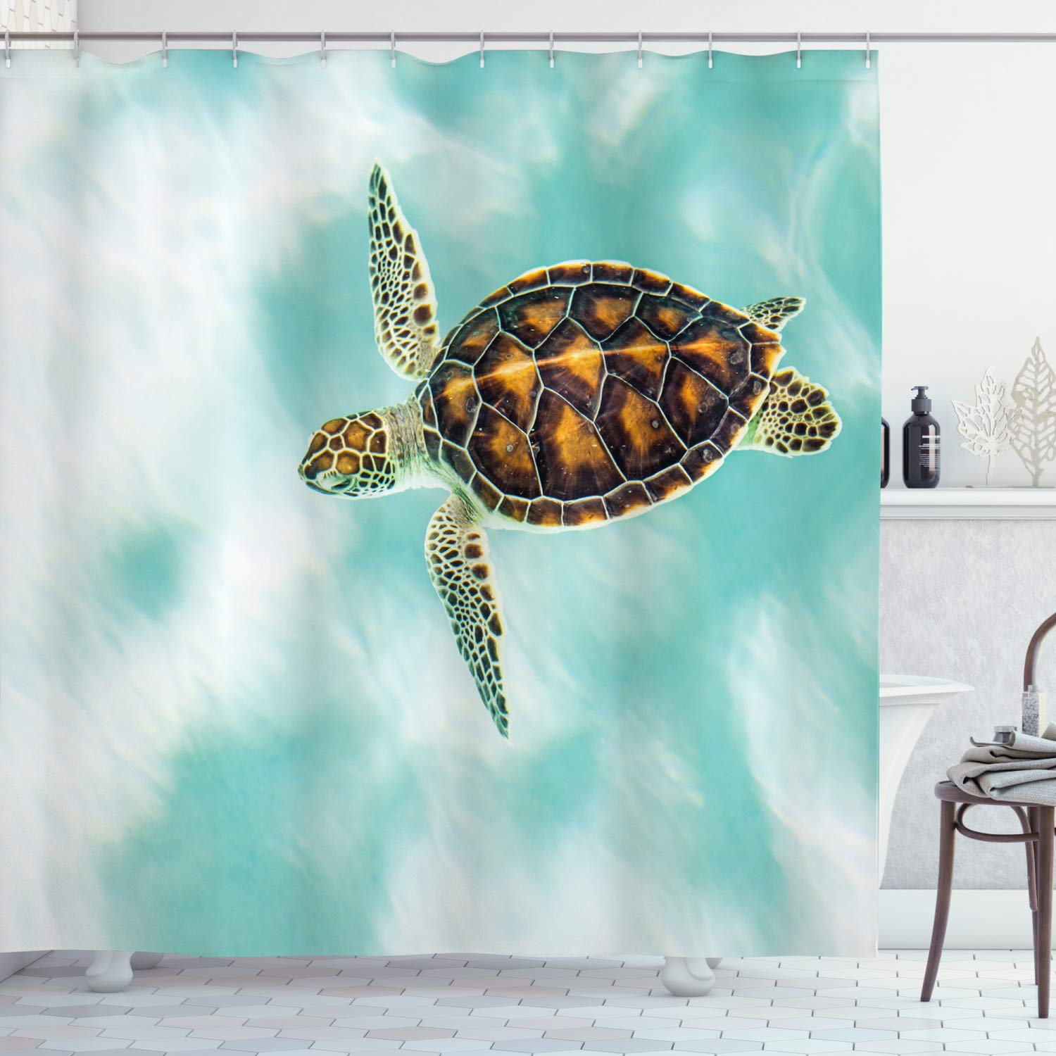 """Ambesonne Turtle Shower Curtain, Baby Turtle Swimming in Abstract Waters Serene Nature Picture, Cloth Fabric Bathroom Decor Set with Hooks, 75"""" Long, Coffee Seafoam"""