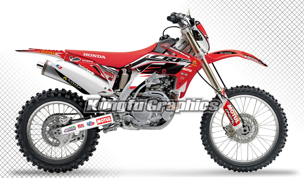 Kungfu Graphics Custom Decal Kit for Honda CRF450X 2008 2009 2010 2011 2012 2013 2014 2015 2016 2017, Red White, Style 001