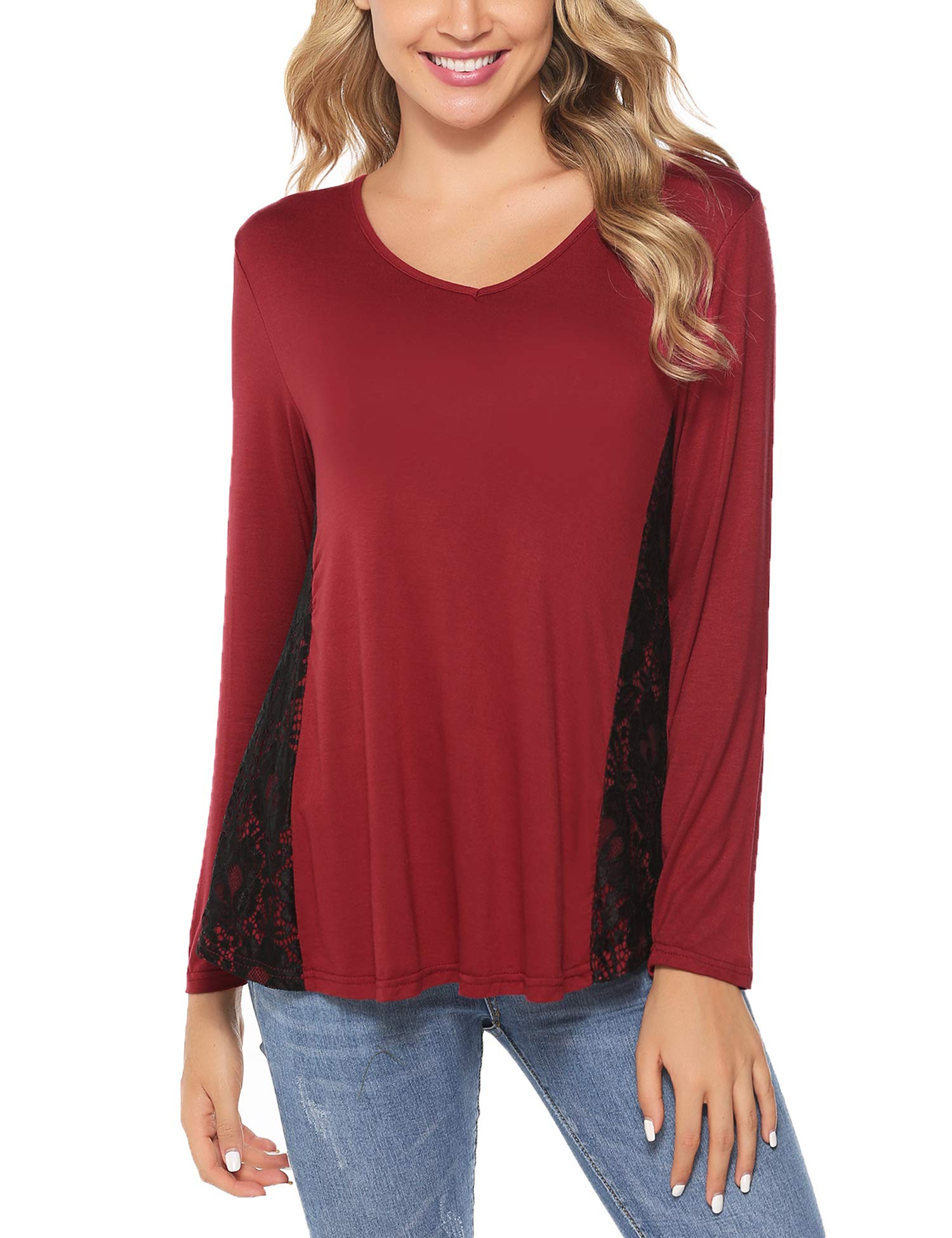 Abollria Women Lace Tunic Top Long Sleeve Flare T Shirt for Leggings