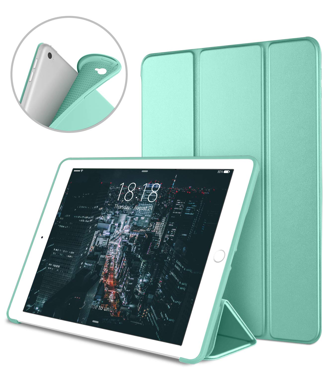 DTTO iPad Air 2 Case (2014 Released), Ultra Slim Lightweight Smart Case Trifold Stand with Flexible Soft TPU Back Cover for Apple iPad Air 2 (Model A1566/A1567), Mint Green